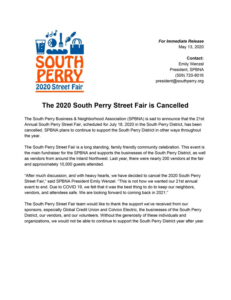 South Perry Street Fair Cancellation Press Release